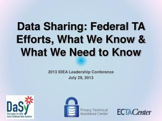 Data Sharing: Federal TA Efforts, What We Know & What We Need to Know