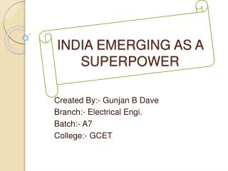 INDIA EMERGING AS A SUPERPOWER