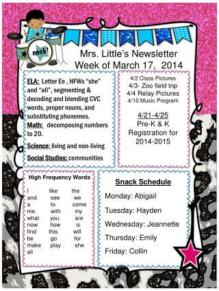Mrs. Little�s  Newsletter Week of March 17,  2014