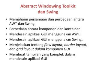 Abstract Windowing Toolkit dan Swing