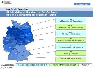 PPP-Projekte im Hochbau und Straßenbau–  Regionale Verteilung der Projekte* - Bund