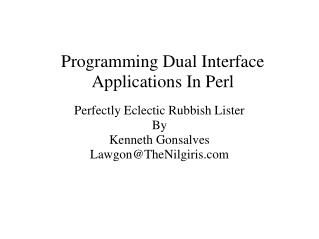 Programming Dual Interface Applications In Perl