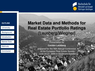 Market Data and Methods for  Real Estate Portfolio Ratings (Lausberg/Wiegner)