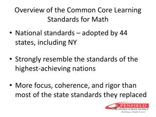 Overview of the Common Core Learning Standards for Math