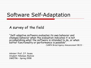 Software Self-Adaptation