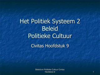 Het Politiek Systeem 2 Beleid Politieke Cultuur