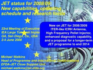 Michael Watkins Head of Programme and International Collaborations EFDA-JET Close Support Unit