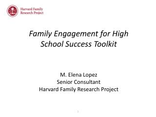 Family Engagement for High School Success Toolkit