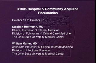#1005 Hospital & Community Acquired Pneumonias