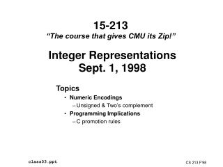 15-213  The course that gives CMU its Zip