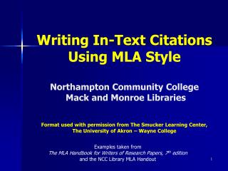 Writing In-Text Citations Using MLA Style  Northampton Community College  Mack and Monroe Libraries   Format used with p