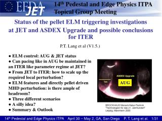 14 th  Pedestal and Edge Physics ITPA Topical Group Meeting