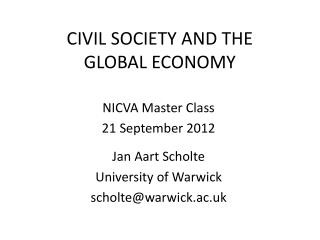 CIVIL SOCIETY AND THE GLOBAL ECONOMY