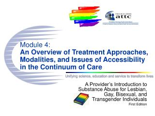 Module 4: An Overview of Treatment Approaches, Modalities, and Issues of Accessibility in the Continuum of Care