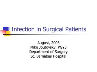 Infection in Surgical Patients