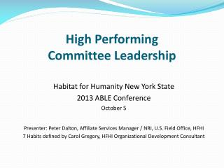 High Performing  Committee Leadership