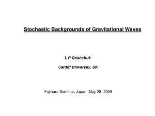 Stochastic Backgrounds of Gravitational Waves