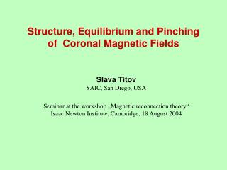 Structure,  Equilibrium  and Pinching of  Coronal Magnetic Fields