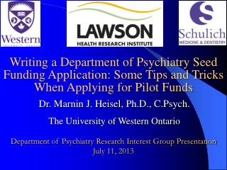 Dr.  Marnin  J.  Heisel , Ph.D.,  C.Psych . The University of Western Ontario