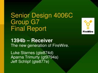 Senior Design 4006C Group G7 Final Report