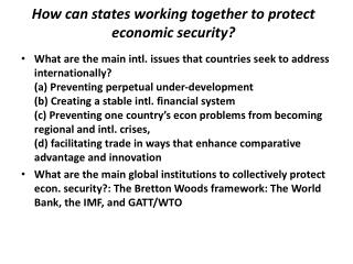How can states working together to protect economic security?