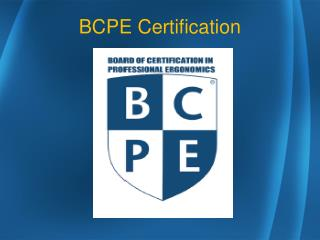 BCPE Certification