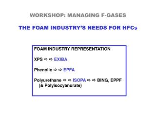 WORKSHOP: MANAGING F-GASES THE FOAM INDUSTRY'S NEEDS FOR HFCs