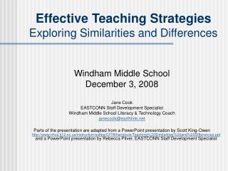 Effective Teaching Strategies  Exploring Similarities and Differences