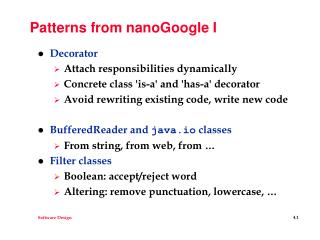 Patterns from nanoGoogle I