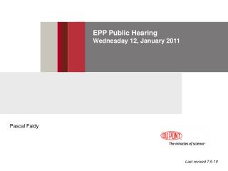 EPP Public Hearing Wednesday 12, January 2011