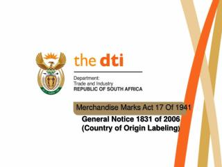 Merchandise Marks Act 17 Of 1941