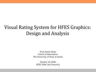 Visual Rating System for HFES Graphics: Design and Analysis