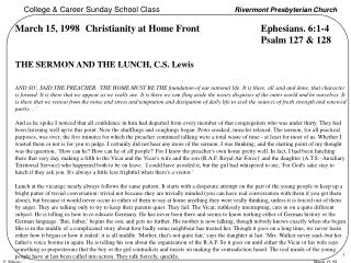 March 15, 1998Christianity at Home Front Ephesians. 6:1-4 Psalm 127 & 128