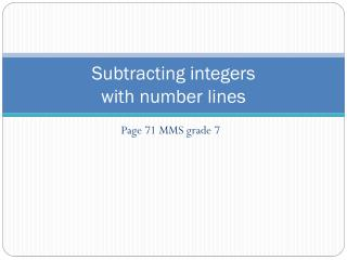 Subtracting integers  with number lines