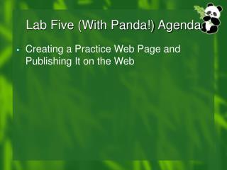 Lab Five (With Panda!) Agenda