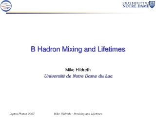 B Hadron Mixing and Lifetimes
