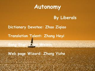 Autonomy By Liberals