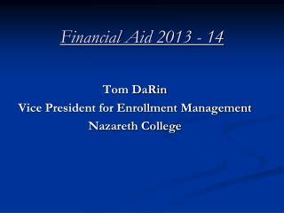 Financial Aid 2013 - 14