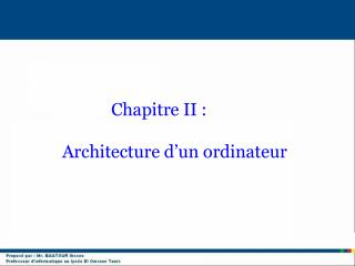 Architecture d�un ordinateur