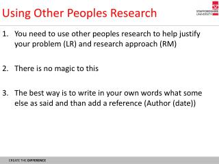 Using Other Peoples Research