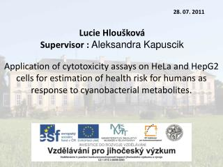 Lucie Hloušková Supervisor :  Ale ks andra Kapuscik