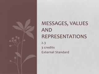 Messages, values and representations