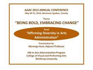 AAAE 2014 ANNUAL CONFERENCE May 29-31, 2014, Montreal, Quebec, Canada Theme