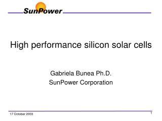 High performance silicon solar cells