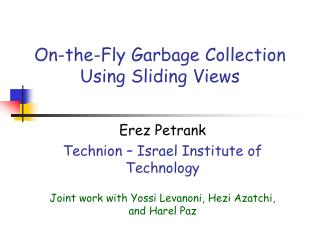 On-the-Fly Garbage Collection Using Sliding Views