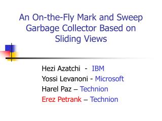 An On-the-Fly Mark and Sweep Garbage Collector Based on Sliding Views