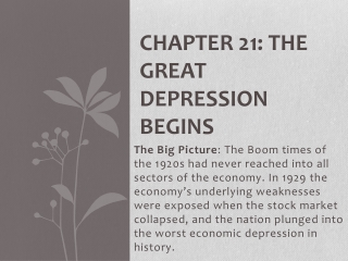 Chapter 21   The Great Depression Begins