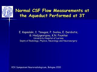 Normal CSF Flow Measurements at the Aqueduct Performed at 3T