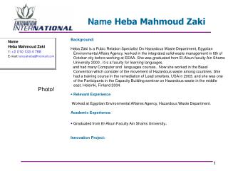 Name  Heba Mahmoud Zaki