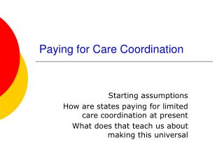 Paying for Care Coordination